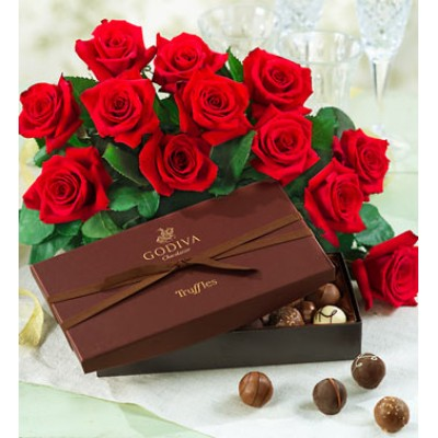 One Dozen Red Roses with Godiva Truffles LR